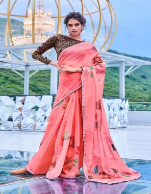 pink soft organza silk fabric digital print  work ethnic