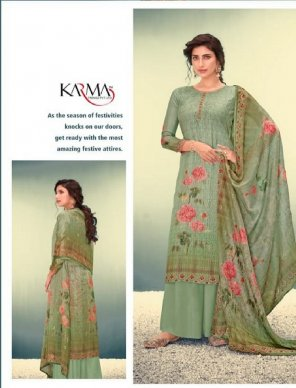 olive muslin  fabric digital print with embroidery work casual