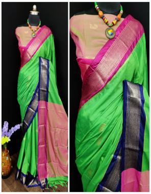 parrot pure cotton silk fabric weaving  work wedding