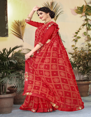 red soft weightless fabric printed work casual