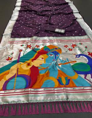 wine soft lichi silk fabric weaving jacqaurd work party wear