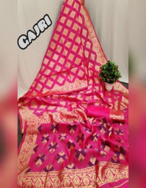 gajri soft banarasi silk fabric weaving jacqaurd work festive