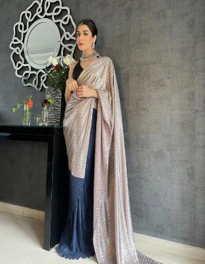 grey blue saree -heavy russian silk  blouse -banglori satin fabric plain work ethnic