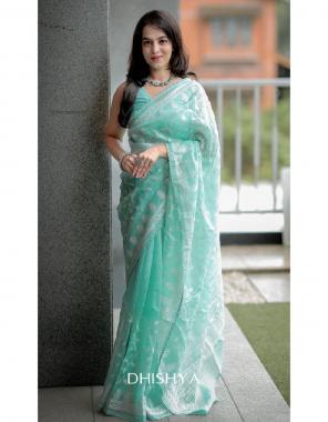 sky pure organza silk fabric embroidery chikankari work work casual