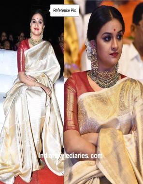 cream red pure kanchipuram silk fabric weaving jacqaurd  work festive