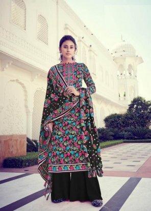 black pashmina jacquard fabric printed work casual
