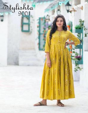 yellow muslin with inner length 55 flair 4.5m fabric digital print work casual