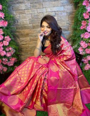 pink soft lichi silk fabric weaving jacqaurd work party wear
