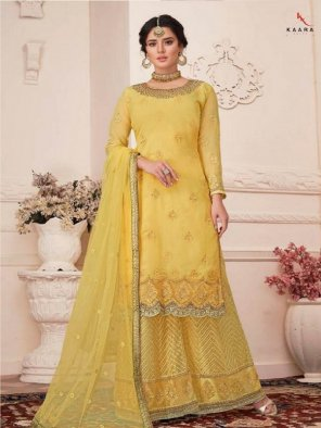 yellow faux georgette fabric embroidery work wedding