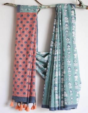 orange grey mul cotton fabric digital print  work running