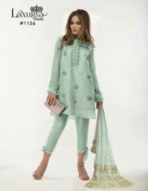 sky top -fox georgette  plazzo -cotton strachble  dupatta -banarasi 24 fabric handwork  work ethnic