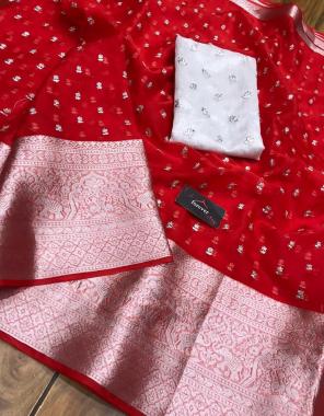 red pure organza  fabric seqeunce work wedding