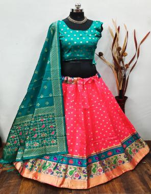 gajri lehenga -brocade banarasi silk with cancan inner length 42  blouse -pure silk readymade free size upto 42  dupatta -pure banarasi silk fabric weaving jacqaurd work party wear