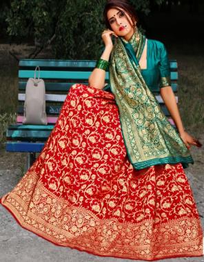 red green kanjivaram silk fabric weaving jacqaurd work party wear