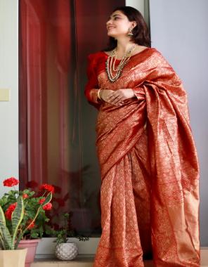 red soft lichi silk fabric weaving jacqaurd work ethnic