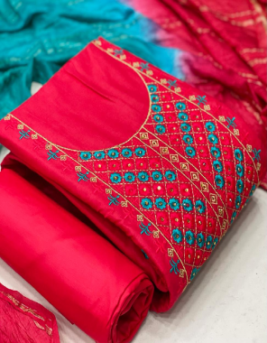 red top -cotton neck work 1.90m  bottom -cotton 2.5m  dupatta -cotton chex 2.10 fabric printed embroidery work party wear