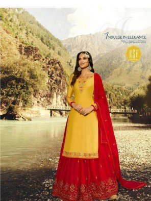 yellow satin georgette fabric embroidery work wedding