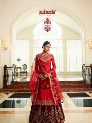 red satin georgette fabric embroidery work wedding