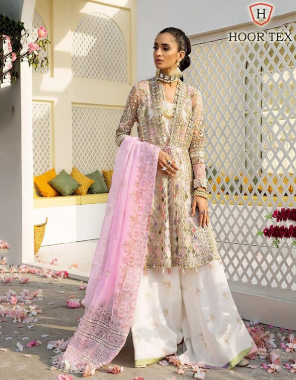 white top -heavy net  bottom +inner -santoon  dupatta -organza with print fabric embroidery pakistani  work festive