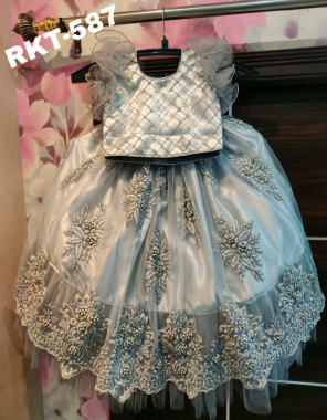 sky grey lehenga -heavy net embroidery |blouse -heavy seqeunce soft crepe with inner satin back side hook fabric embroidery work casual