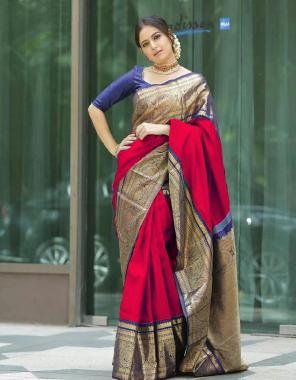 red soft lichi silk  fabric weaving jacqaurd work running