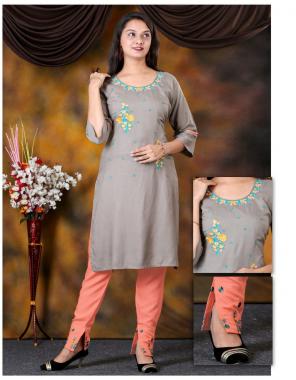 chiku rayon kurti with pant length 40 fabric embroidery work casual