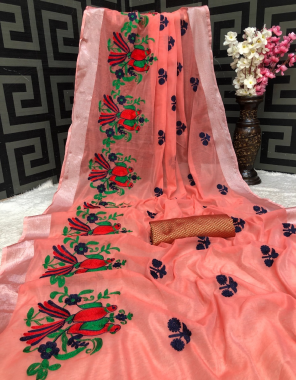 pink chanderi cotton silk fabric embroidery work wedding