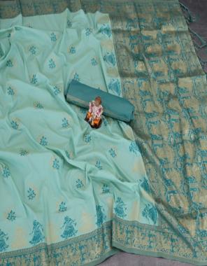 sky soft lichi silk fabric weaving jacqaurd work ethnic