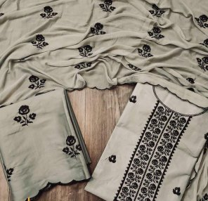 grey  cotton with nazneen fabric fency work work festival