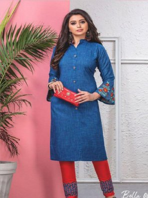 blue rayon fabric embroidery work casual