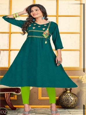 rama rayon fabric embroidery work casual