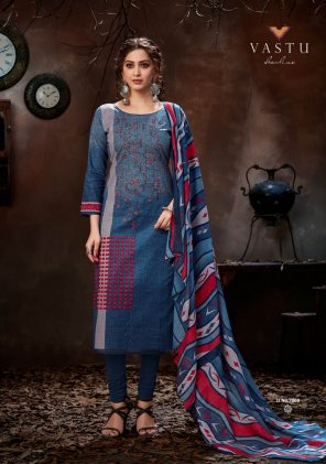 blue lawn cotton fabric printed work casual