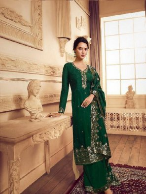 green dola jacquard fabric hand work work wedding