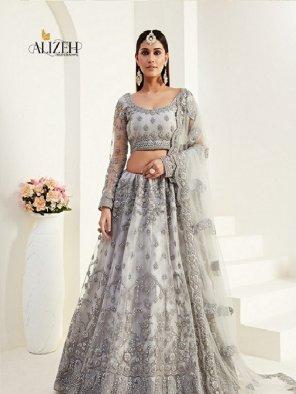 grey net with silk fabric thread and zari work wedding