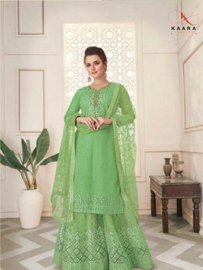 pista faux georgette fabric embroidery  work festival