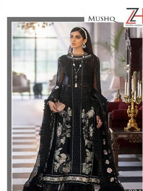 black faux georgette fabric embroidery work festival