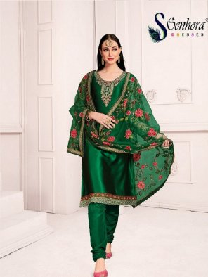 green georgette fabric stone  work festival