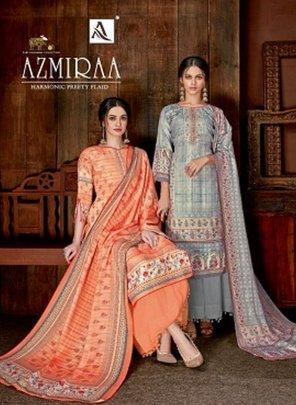 orange wool pashmina fabric digital print work casual