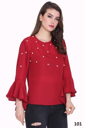 red mosscrepe fabric pearl work casual