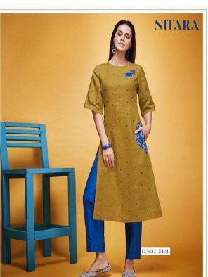 musterd linen cotton fabric embroidery work casual