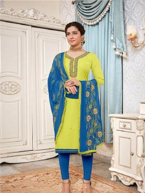 lime cotton fabric handwork work casual