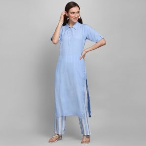 sky viscose fabric plain work casual