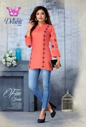 fire orange rayon fabric embroidery work casual