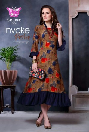 coffee rayon fabric printed work casual