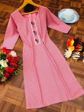 pink rayon fabric embroidery work casual