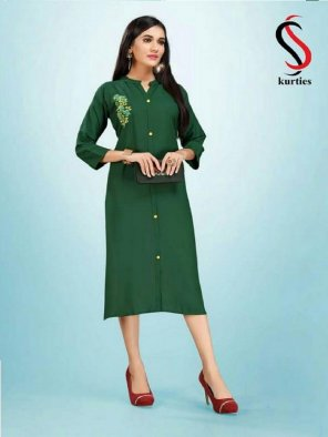 green rayon fabric embroidery touch up work casual
