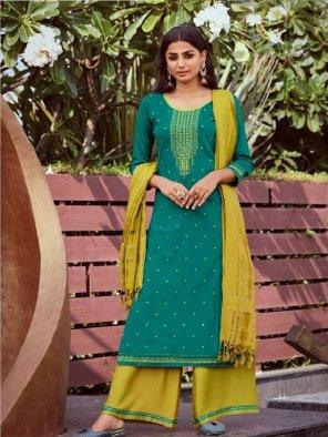 bottle green jam silk fabric khatli work work festival