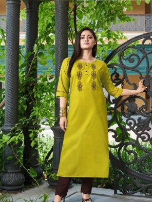 lime yellow silk fabric embroidery work casual