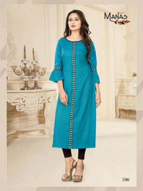 sky blue two tone rayone slub fabric embroidery work casual