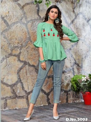 mint cotton fabric embroidery work casual